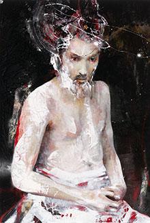 Gemälde: junger Mann mit Bart