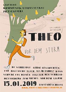 Plakat Theo 2018: Mann trägt Baum