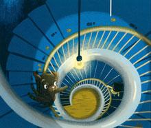 Illustration: Hund auf einer Wendeltreppe