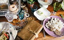 Foto: Gläser, Handtasche Geschirr, Essen und Schmuck