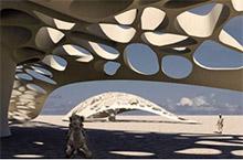 Entwurfszeichnung: Gebäude aus Nanocellulose in der Wüste