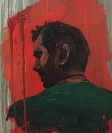 Gemälde, männliches Profil seitlich von hinten