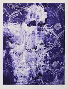 Druckgraphik: gegenstanslos, Formen in Blau